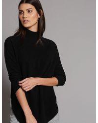 Marks & Spencer - Pure Cashmere Curved Hem Funnel Neck Jumper - Lyst