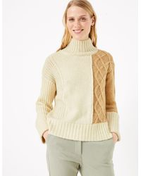 Marks & Spencer - Cable Knit Turtle Neck Jumper - Lyst