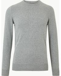 Marks & Spencer Pure Cotton Crew Neck Jumper - Grey