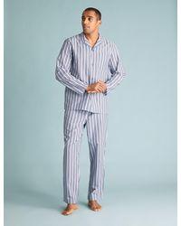 Marks & Spencer Cotton Striped Pajama Set - Blue