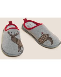 Marks & Spencer Stag Pattern Mule Slippers With Freshfeettm - Grey