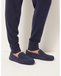 NEW M/&S MENS SIZE 12 NAVY BLUE SLIPPERS WITH FLEECE LINING MARKS/& SPENCER