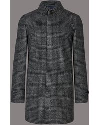 Marks & Spencer - Wool Blend Checked Coat - Lyst