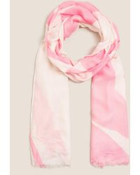 Marks & Spencer Woven Printed Scarf With Modal - Pink