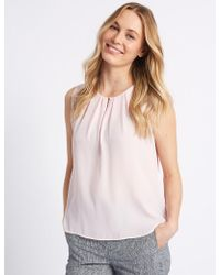 Marks & Spencer - Pleated Front Round Neck Blouse - Lyst