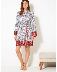 Marks & Spencer - Satin Paisley Print Wrap Dressing Gown Orange Mix - Lyst