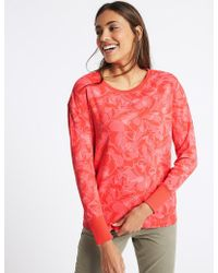 Marks & Spencer Pure Cotton Floral Print T-shirt - Pink