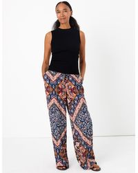 Marks & Spencer - Scarf Print Wide Leg Trousers Blue Mix - Lyst