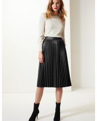 Marks & Spencer - Faux Leather Pleated Midi Skirt - Lyst