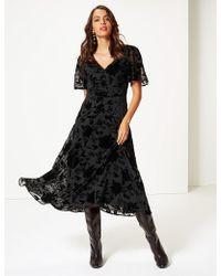 Marks & Spencer - Sparkly Short Sleeve Skater Midi Dress - Lyst