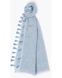 Marks & Spencer Cotton Blend Tassel Scarf - Blue