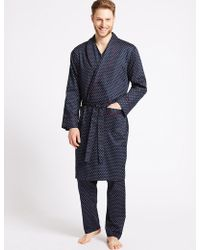 Marks & Spencer - Pure Cotton Printed Dressing Gown With Belt - Lyst