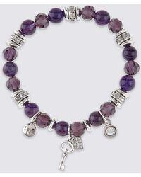 Marks & Spencer - Diamanté Charm Stretch Bracelet - Lyst