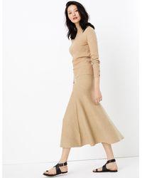 Marks & Spencer Knitted Fit & Flare Skirt Camel - Natural