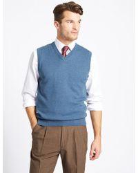 Marks & Spencer Pure Cotton Sleeveless Jumper - Blue