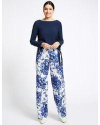 Marks & Spencer Floral Print Wide Leg Pants - Blue
