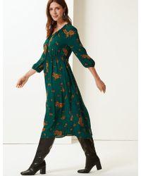 e96701886d01 Lyst - Marks   Spencer Paisley Print Shirred Beach Dress in Black
