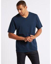 Marks & Spencer Pure Cotton V-neck T-shirt - Blue