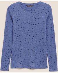 Marks & Spencer Pure Cotton Polka Dot Regular Fit Top - Blue