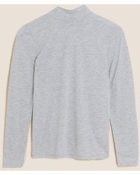 Marks & Spencer Funnel Neck Relaxed Long Sleeve Top - Multicolour