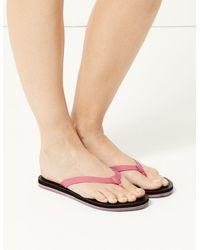 Marks & Spencer - Open Toe Stripe Base Flip-flops Black Mix - Lyst