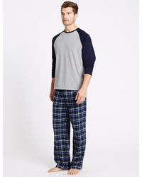 Marks & Spencer - Pure Cotton Checked Pyjama Set - Lyst