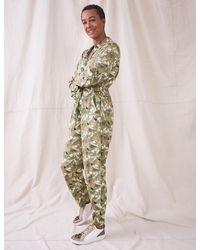 Marks & Spencer White Stuff Leaf Print Long Sleeve Jumpsuit
