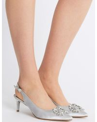 Marks & Spencer - Kitten Heel Jewel Pointed Toe Court Shoes - Lyst