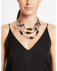 Marks & Spencer - Mix Up Bead Three Row Necklace - Lyst