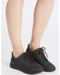 Marks & Spencer - Wide Fit Suede Lace-up Trainers - Lyst