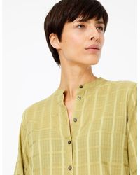 Marks & Spencer Pure Cotton Checked Longline Shirt Olive - Green