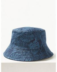 c0788cee8b1 Marks   Spencer - Pure Cotton Palm Print Reversible Bucket Hat - Lyst