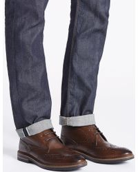 Marks & Spencer - Leather Brogue Chukka Boots - Lyst
