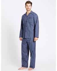 Marks & Spencer - 2in Longer Pure Brushed Cotton Pyjama Set - Lyst