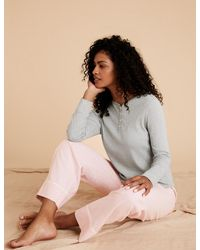 Marks & Spencer Cotton Pajama Set - Multicolor