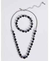 Marks & Spencer - Assorted Multi-faceted Sparkling Bead Necklace & Bracelet Set - Lyst
