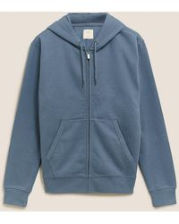 Marks & Spencer Pure Cotton Hoodie - Blue