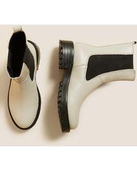 Marks & Spencer Leather Chelsea Chunky High Leg Boots - Black