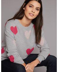 Marks & Spencer - Pure Cashmere Heart Print Round Neck Jumper - Lyst