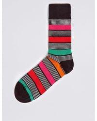 Marks & Spencer Cotton Rich Striped Socks - Multicolor