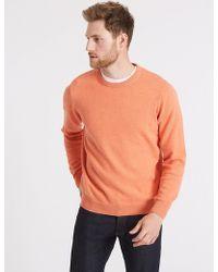 Marks & Spencer Pure Cotton Crew Neck Jumper - Orange