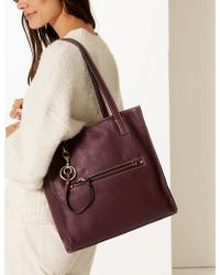 Marks & Spencer - Leather 3 Compartment Tote Bag - Lyst