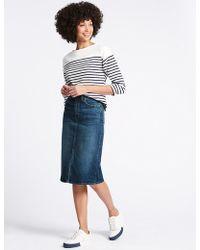 Marks & Spencer - Denim Midi Skirt - Lyst