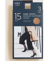 Marks & Spencer 3pk Medium Support Knee High Tights - Multicolour