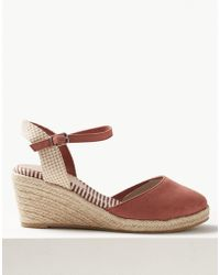 ed8236f2065 Marks   Spencer Wide Fit Wedge Heel Espadrilles in Red - Lyst