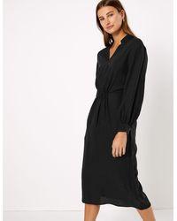 Marks & Spencer - Waisted Midi Dress - Lyst