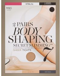 Marks & Spencer - 2 Pair Pack 7 Denier Secret Slimmingtm Sheer Body Shaper Tights - Lyst