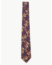 Marks & Spencer Silk Slim Floral Ombre Tie Gold Mix - Multicolor