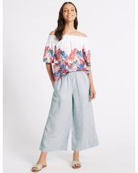 Marks & Spencer - Pure Linen Wide Leg Cropped Flared Trousers - Lyst