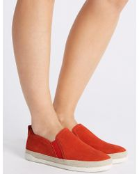 Marks & Spencer - Wide Fit Suede Rope Detail Trainers - Lyst